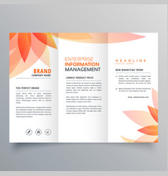 Beautiful orange leaf tri fold business brochure vector