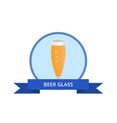 beer glass in blue circle vector image