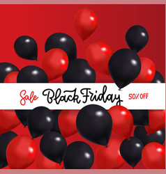 black friday sale banner with and red vector image