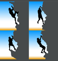 black set silhouette rock climber on against the vector image vector image