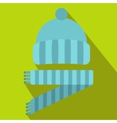 Blue knitted hat and scarf icon flat style vector image