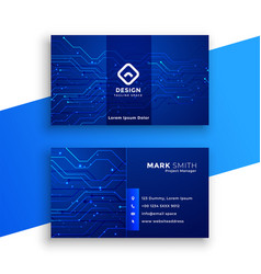 Blue technology style business card design vector