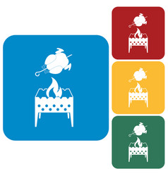 brazier and chicken icon vector image