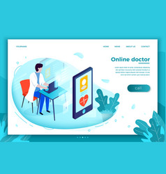 Bright online health consultation template vector