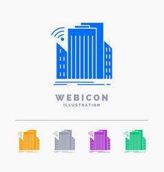 buildings city sensor smart urban 5 color glyph vector image