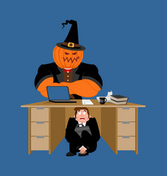 businessman scared under table of pumpkin vector image