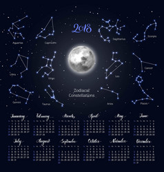 Calendar moon zodiac constellations 2018 night vector