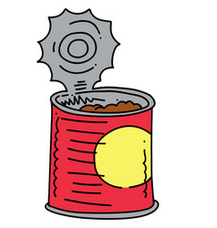 canned food cartoon hand drawn image vector image vector image