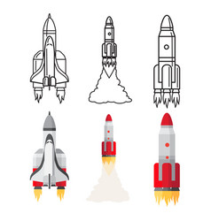 cartoon and doodle line space rockets set vector image