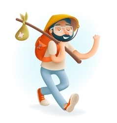 Cartoon hipster geek traveler 3d businessman vector