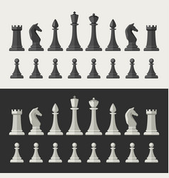 chess pieces flat icons vector image