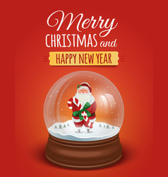 Christmas greeting card poster with snow globe vector