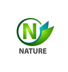 circle initial letter n nature logo concept vector image