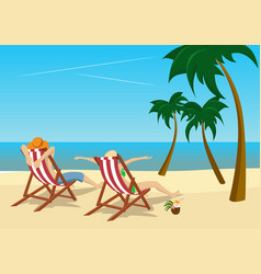 Couple sitting in deck chairs on tropical beach vector