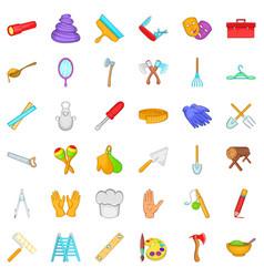 Craft tool icons set cartoon style vector