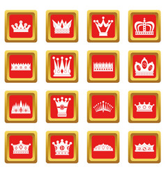 crown icons set red vector image
