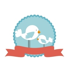 cute bird decorative card vector image