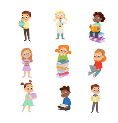Cute intelligent kids reading books set education vector