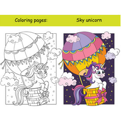 cute unicorn flying in hot air balloon in sky vector image