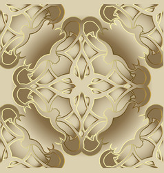 damask ornate 3d seamless pattern vector image