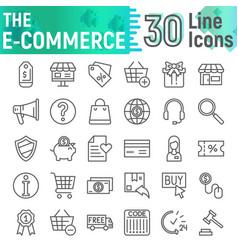 E-commerce line icon set shopping symbols vector