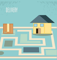 Fast delivery with box and house travel vector
