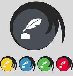 Feather Retro pen icon sign Symbol on five colored vector