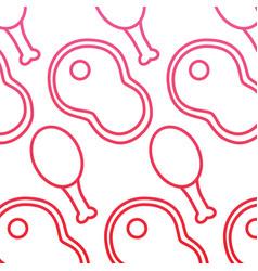 Fillet steak and chicken food seamless pattern vector