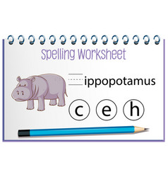Find missing letter with hippopotamus vector