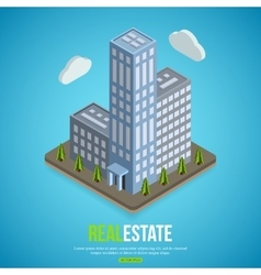 flat isometric city real estate background vector image