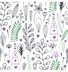 floral pattern with doodle flowers and leaves vector image