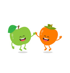Funny an apple and the persimmon vector