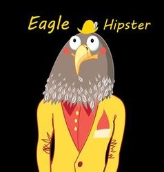 Funny hipster predatory eagle on a black vector