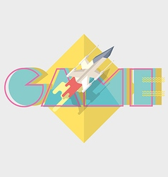 Game typographics modern vector image