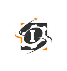 Gear solution logo letter i vector