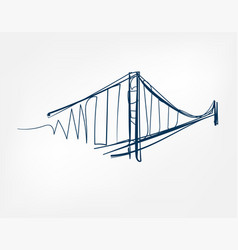golden gate sight art line isolated doodle vector image