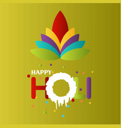 happy holi festival the festival of colors green vector image