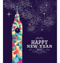 Happy new year 2016 London color triangle hipster vector image