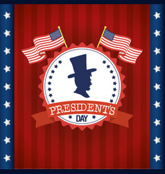 Happy presidents day with flags and profile vector