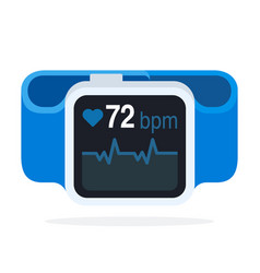 Heart rate wrist strap flat isolated vector