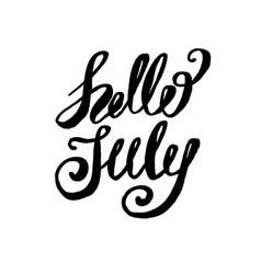 Hello july lettering print summer minimalistic vector