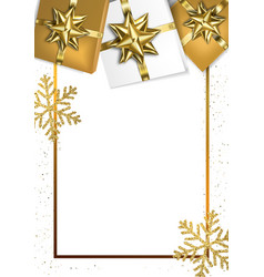 holiday frame with bows and gift boxes vector image