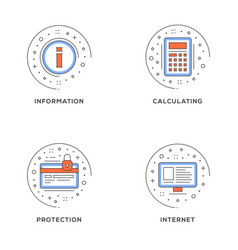 information calculating protection internet set vector image