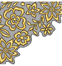 Lace background with gold flowers vector