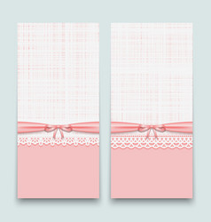 Lacy pink cards with ribbon and bow to design vector