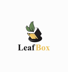leaf box logo template vector image