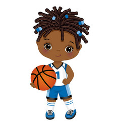 Little african american playing basketball vector