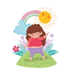 Little chubby girl with rainbow in the landscape vector