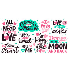 love lettering quotes romantic valentines day vector image