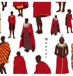 Maasai couple african people pattern vector
